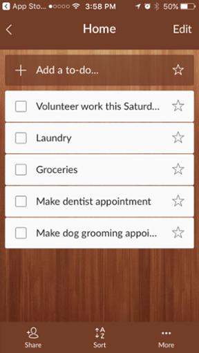 Aplicación móvil Wunderlist para hacer un seguimiento de sus tareas y objetivos