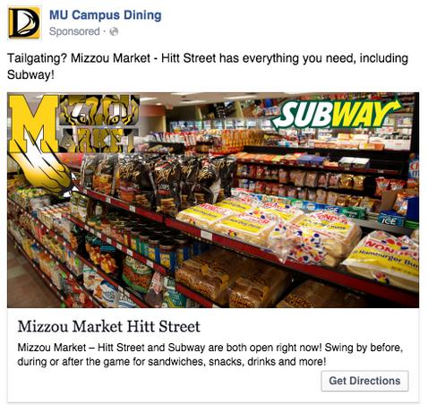 Anuncio local de Facebook de MU Campus Dining