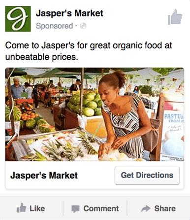 Plantilla de anuncio de Facebook para alcance y conciencia local