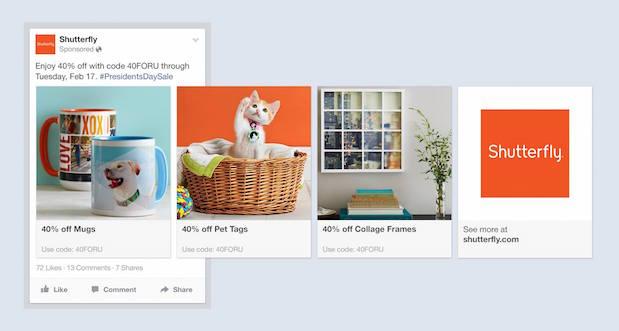 Anuncio de varios productos de Facebook por Shutterfly