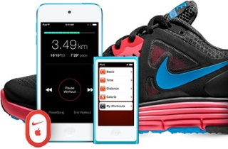 Nike + zapato, iPhone y iPod