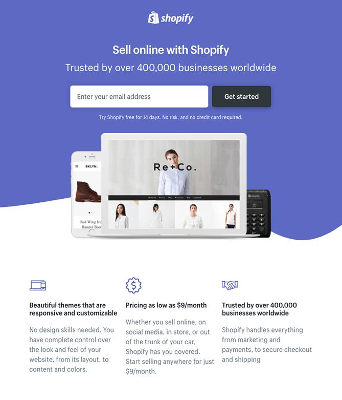 Página de inicio de sesión de Shopify