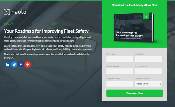 Página de inicio del ebook Nauto con botón verde Descargar