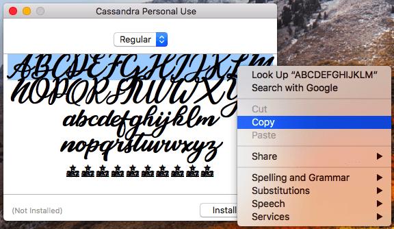 Biografía de Instagram para copiar la fuente de Cassandra a su biografía de Instagram en un escritorio.