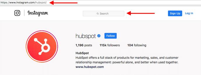 Perfil de Instagram de HubSpot con flechas rojas apuntando a la barra de búsqueda para buscar usuarios sin una cuenta