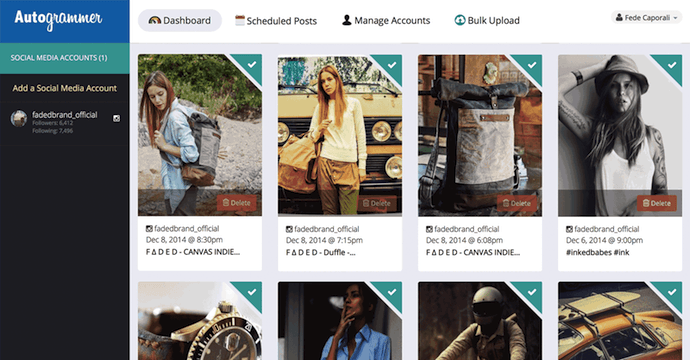 Autogrammer herramienta de programación de publicación en redes sociales para Facebook, Twitter e Instagram