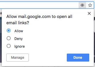 Botón azul Permitir para hacer cliente de correo electrónico predeterminado de Gmail en el navegador Chrome