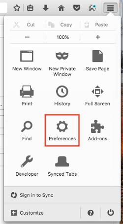 """Icono de preferencias en el menú de configuración en el navegador Firefox """"width ="""" 250 """"style ="""" width: 250px; margin-left: auto; margin- derecha: auto"""