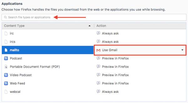 """Menú de aplicaciones con opción de correo electrónico predeterminado en Configuración general de Firefox """"width ="""" 600 """"style ="""" width: 600px; margin-left: auto; margin-right: auto"""
