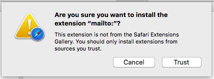 Pantalla de advertencia de la computadora Mac solicitando el archivo de confianza descargado de Internet