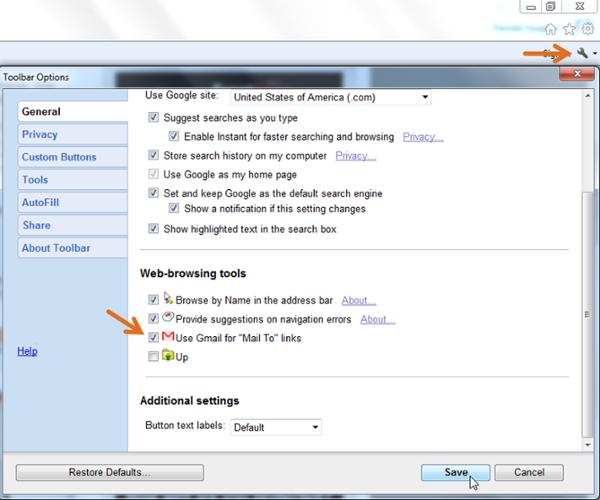 """Pantalla de opciones de la barra de herramientas para hacer que el cliente de correo electrónico predeterminado de Gmail para enlaces Mail A en Internet Explorer"""" width = """"600"""