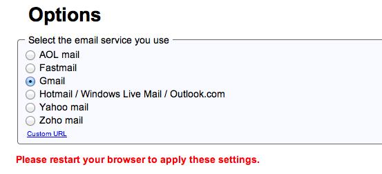 Menú de opciones en la Extensión de Mailto de Google con el botón azul para hacer que el cliente de correo electrónico predeterminado de Gmail esté en Safari