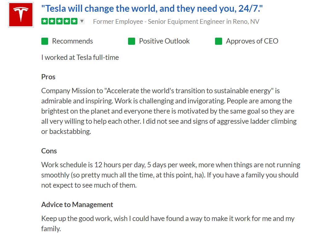 final2 [19659015] La conclusión de los empleados es que, si bien el ambiente de trabajo es intenso y exigente, Musk es un líder inspirador a pesar de sus travesuras públicas. Los empleados están motivados en primer lugar por las misiones de Tesla y SpaceX, y están menos enfocados en cualquier cosa que no sea interrumpir la industria. Parece que la innovación de Elon supera a su persona pública. </p> <p> <em> Imagen destacada a través de <a href=