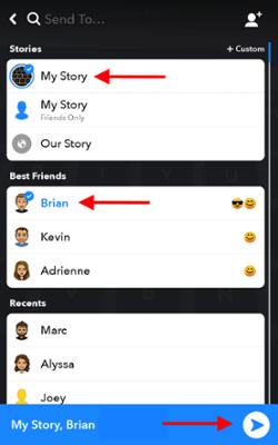 Lista de amigos en Snapchat para enviar su complemento a sus amigos