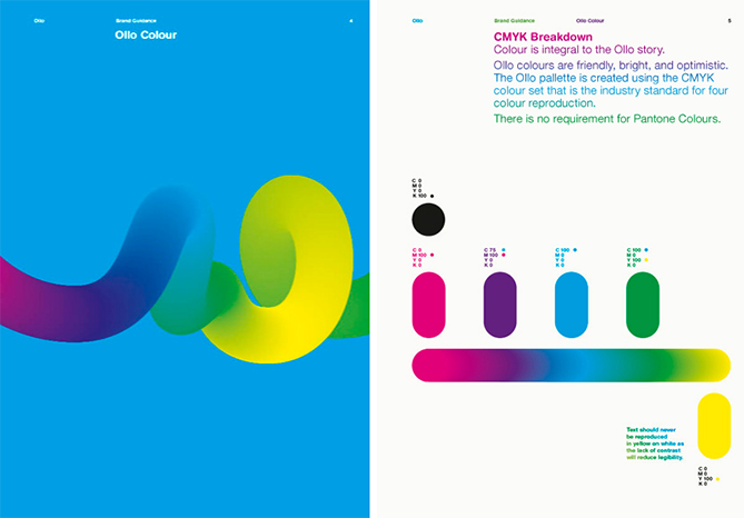 Guía de estilo de marca de Ollo con paleta de colores que incluye cuatro códigos de color