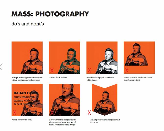 Guía de estilo de marca para Jamie Oliver con imágenes en mosaico rojo mostrando restricciones de fotografía