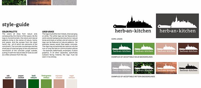Estilo de marca guía para Herban Kitchen con ocho variaciones de logotipo y seis fichas de colores