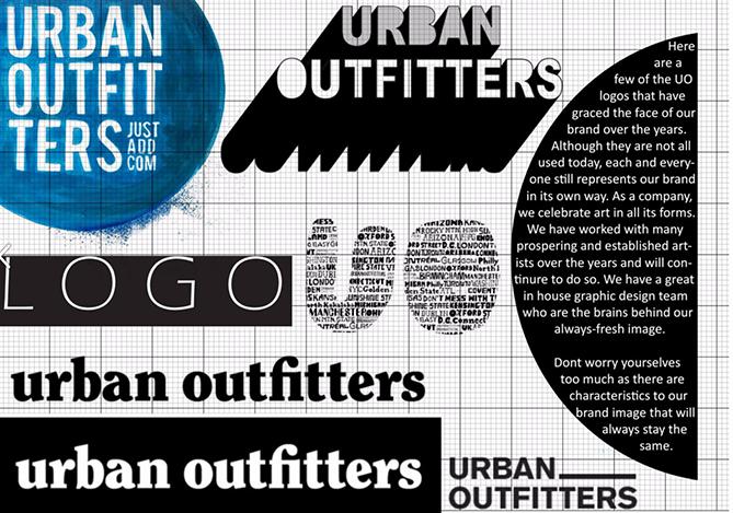 Guía de estilo de marca para Urban Outfitters con variaciones de logotipo en blanco y negro
