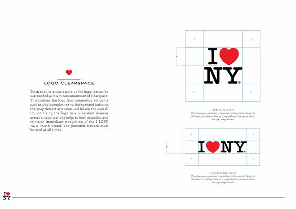 Guía de estilo de marca para I Love New York con logotipo y líneas