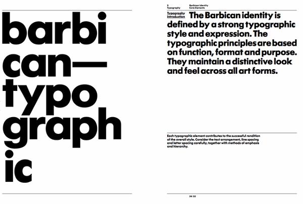 Guía de tipografía en la guía de estilo del arte Barbican y centro de aprendizaje