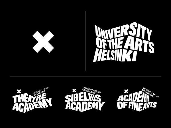 Guía de estilo de la marca de la Universidad de las Artes de Helsinki con fondo negro y tipografía sans blanca y logotipo X