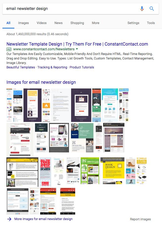 Paquete de imágenes en una página de resultados del motor de búsqueda de Google