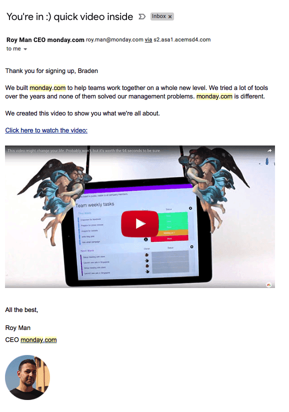 Monday.com correo electrónico de bienvenida con un enlace para ver un video del CEO Roy Man