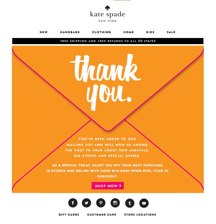 "Kate Spade correo electrónico de bienvenida con un sobre en color naranja que dice ""title ="" kate-spade-welcome-email.png"