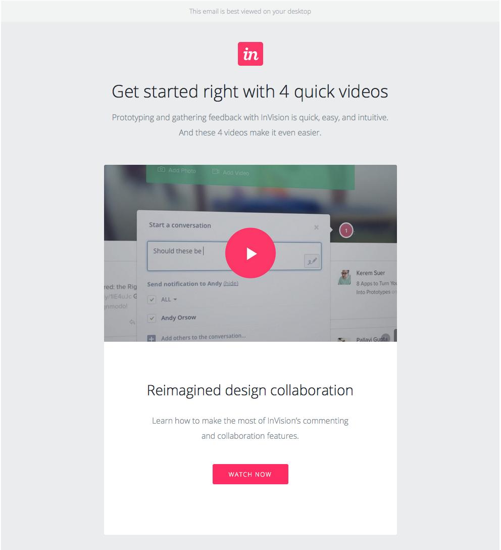 """InVision correo electrónico de bienvenida con enlace para ver el video """"title ="""" invision-welcome-email.png"""