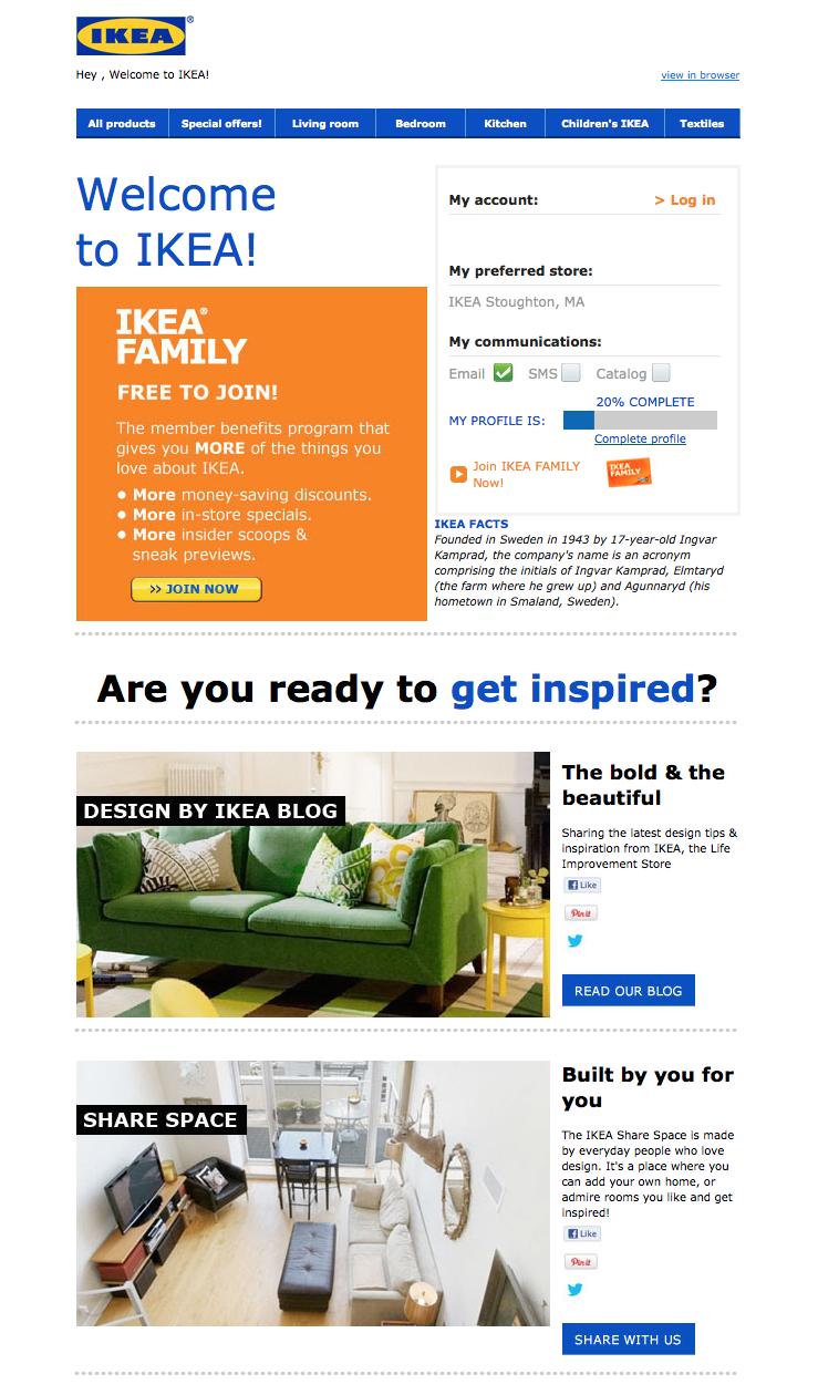 """Correo electrónico de bienvenida de IKEA con una oferta para unirse a la membresía gratuita """"title ="""" ikea-welcome-email.png"""