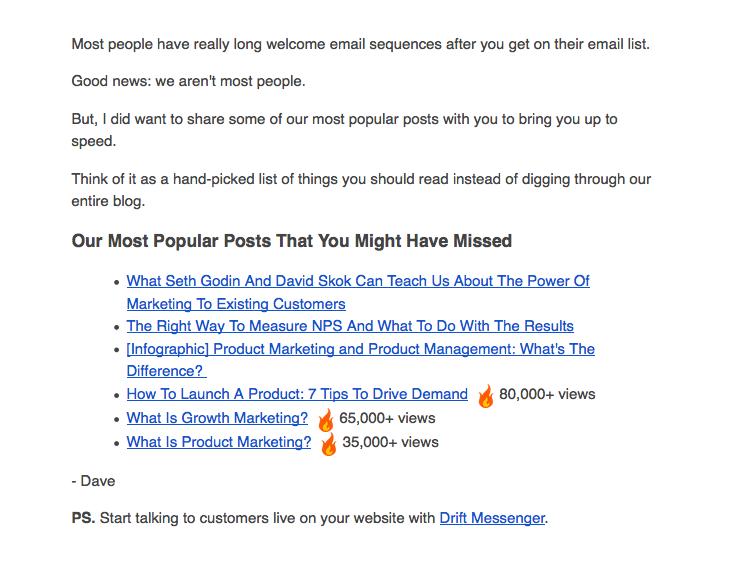 """Drift correo electrónico de bienvenida con enlace para comenzar """"title ="""" drift-welcome-email-1.png"""
