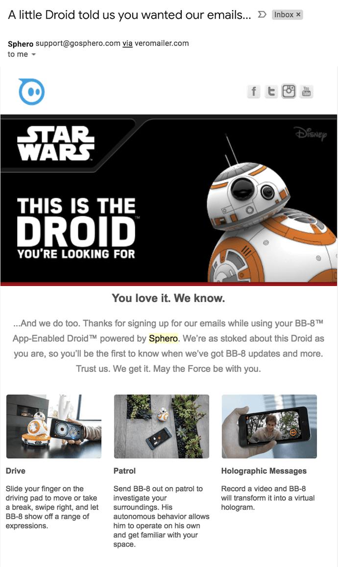 """Correo electrónico de bienvenida de Sphero con BB-8 Star Wars Droid diciendo hola """"width ="""" 690 """"style ="""" width: 690px"""