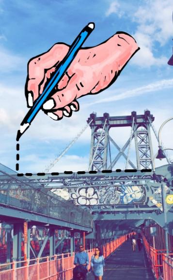 """Increíble dibujo de Snapchat de una línea de puntos dibujada a mano sobre el puente de la ciudad de Nueva York """"title ="""" hand-new-york-bridge-snapchat.png """"width ="""" 357 """"height ="""" 577 [19659008] Crédito de la imagen: <a href="""