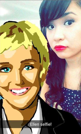 """Increíble dibujo de Snapchat de Ellen Degeneres """"title ="""" ellen-selfie-snapchat.png """"width ="""" 334 """"height ="""" 553"""