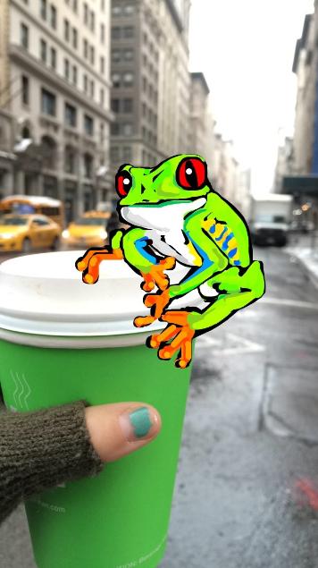 Increíble dibujo de Snapchat de una rana en una taza de café