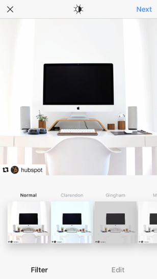 Lista de filtros en la foto de la computadora de escritorio antes de volver a publicar en Instagram