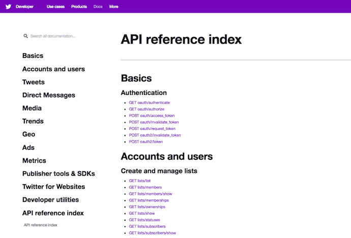 twitter -api-reference-index