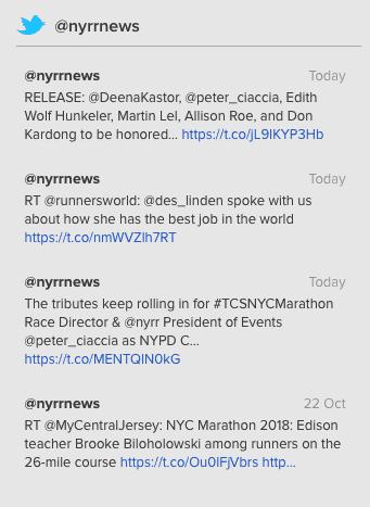 La API de Twitter de Twitter regresó a la interfaz de Sitio web de NYRR