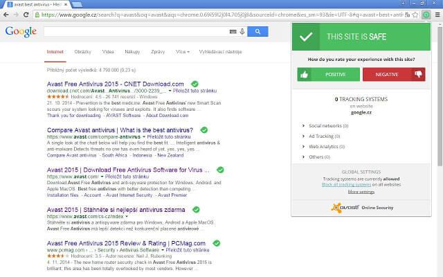 Extensión de Avast Online Security Chrome