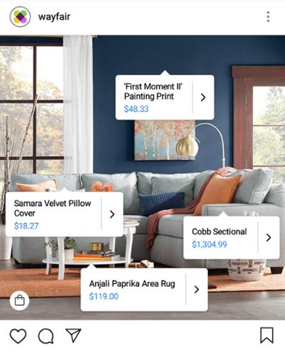 Campaña de marketing digital de Wayfair usando etiquetas de compras de Instagram en una foto de los muebles de la sala