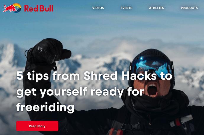 Página de inicio del blog de Red Bull con una campaña de marketing digital centrada en los deportes extremos