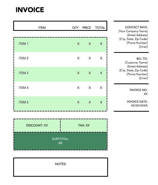 Plantilla de factura de envío verde
