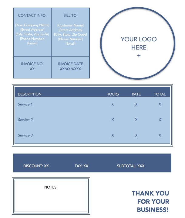 Plantilla de factura de servicio azul