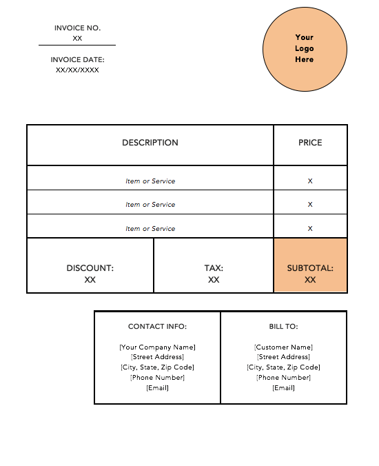 naranja-estándar-factura-plantilla