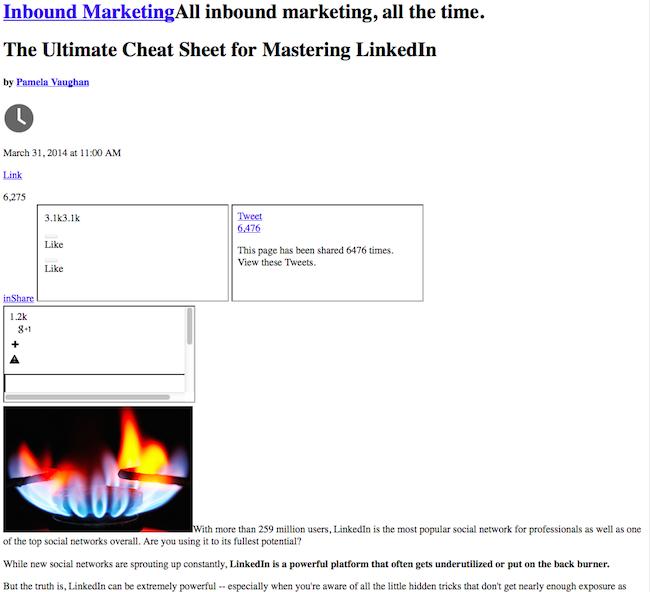 Ejemplo de HTML sin CSS que resulta en una publicación del blog de HubSpot sin formato