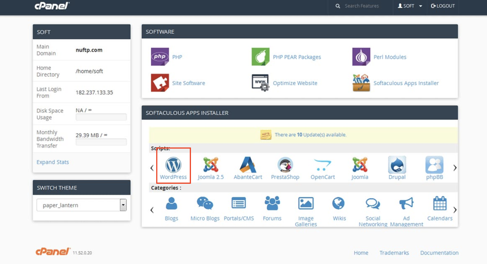 WordPress- cpanel