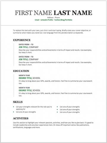 Moderna plantilla de currículum cronológico para MS Word