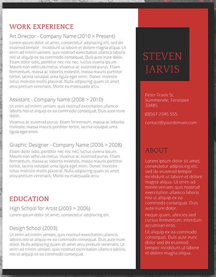 Invierta la plantilla de currículum de dos columnas en estilo CV con barra lateral roja
