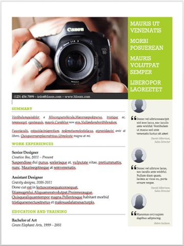 Plantilla del currículum del fotógrafo para MS Word con espacio para recomendaciones y endosos