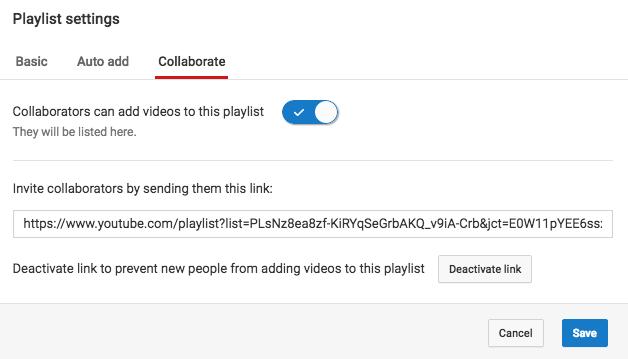 "Configuración de la lista de reproducción de colaboración de YouTube. ""Width ="" 628 ""title ="" YouTube colabora con la configuración de la lista de reproducción. ""Style ="" width: 628px ""> </p> <p style="